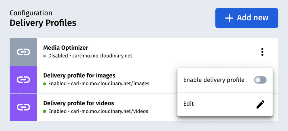 Enable delivery profile