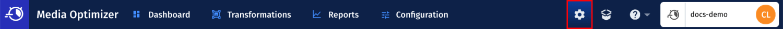 Settings icon in Media Optimizer